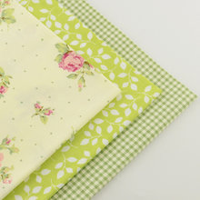 3 piece green fat quarter 40cmx50cm 100% cotton fabric patchwork quilting bedding sewing fabrics tecido home textile tissue(China)