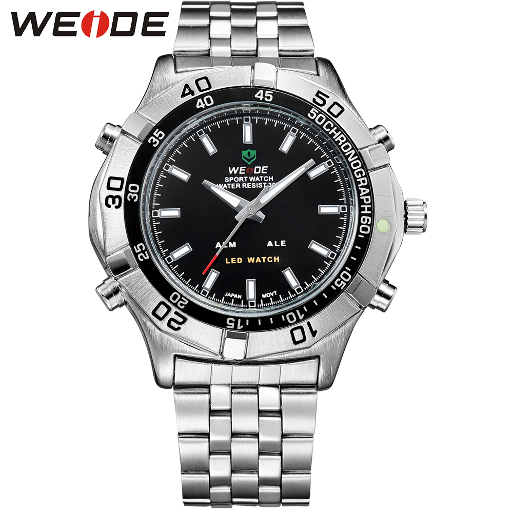 WEIDE High Quality Watch Men Luxury Brand Quartz Movement LED Analog Digital Display Fashion 30m Waterproof Stainless Steel weide popular brand new fashion digital led watch men waterproof sport watches man white dial stainless steel relogio masculino