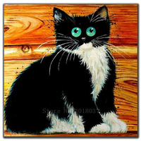 Diy Diamond Painting Cross Stitch Cat Waiting For Dinner Table Needlework Diamond Embroidery Full Round Mosaic Decoration Resin
