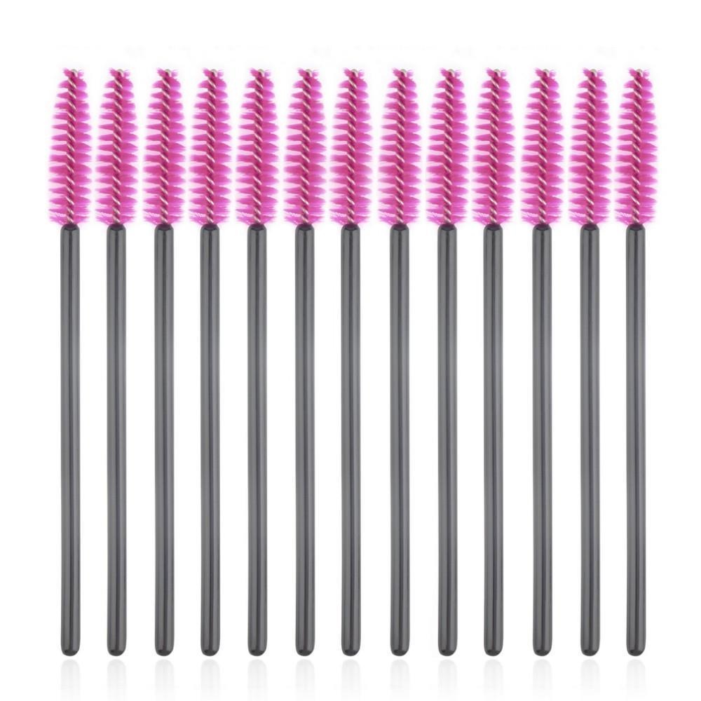 50pcs/lot New Make Up Brush Pink Synthetic Fiber Disposable Eyelash Brush Mascara Applicator Wand Brush Cosmetic Makeup Tool