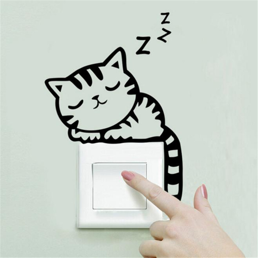 Wallpaper Sticker Creative Cat Wall Stickers Light Switch Decor Decals Art Mural Baby Nursery Room Wallpapers For Living Room B#