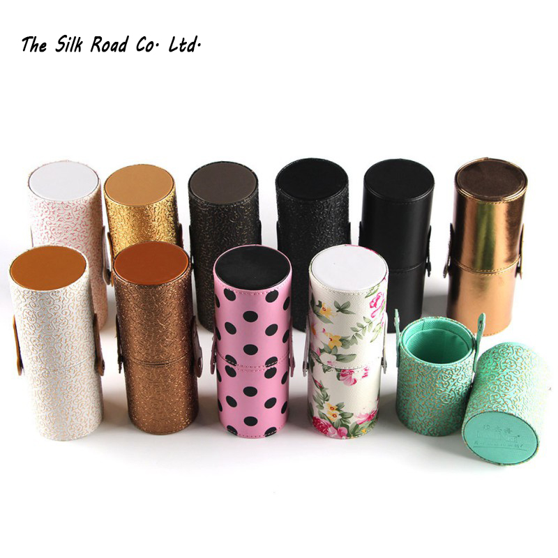 New Empty Portable Makeup Brush Round Pen Holder Cosmetic Tool PU Leather Cup Container Solid Colors 6 Optional Case 6027 best price mgehr1212 2 slot cutter external grooving tool holder turning tool no insert hot sale brand new