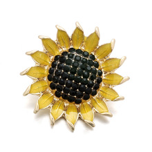 Newest Snap Jewelry High Quality Big Crystal Sunflower 18mm 20mm Snap Button Bracelet DIY Ginger Charms Accessories