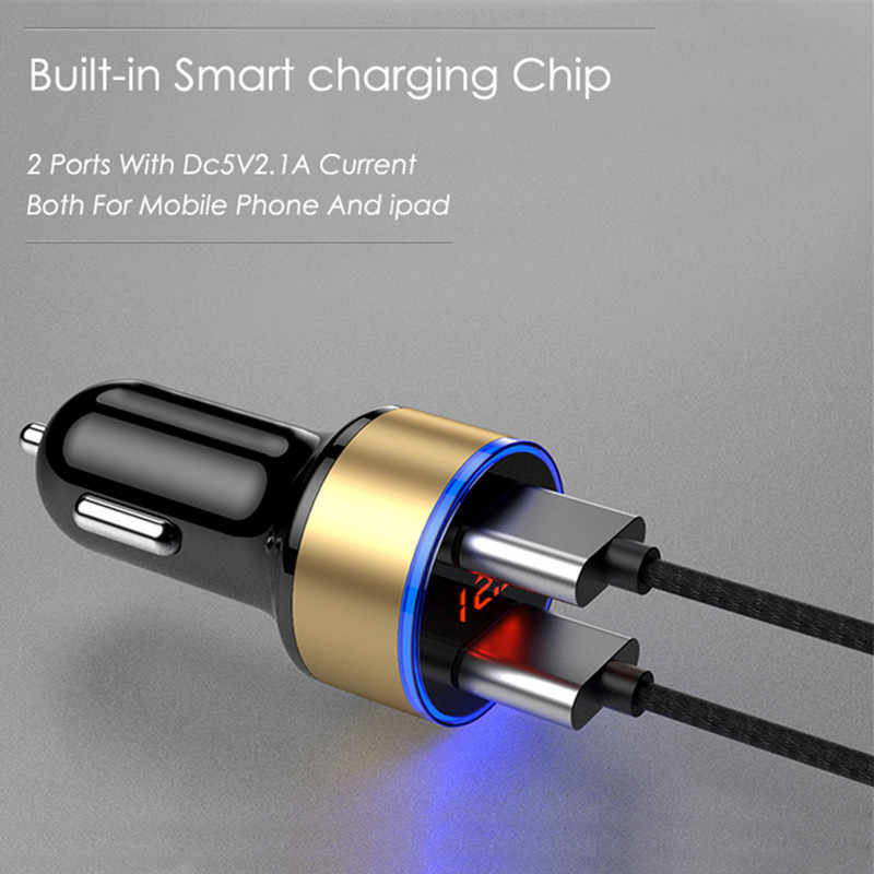 CRDC Mobil Charger 5V 3.1A dengan LED Display Universal Dual USB Ponsel Mobil Charger untuk Xiaomi Samsung S8 iPhone X 8 PLUS Tablet Dll