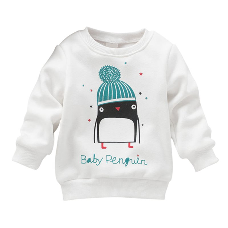 BOBORA Baby Kid Cotton Tops with Little Penguins Pattern Steam Velour Thickening Hooded Sweater Long Sleeve Boys and Girls Winte
