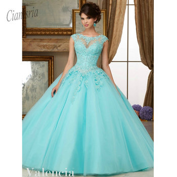 9d8b0a620 2019 luz azul Vestidos Quinceanera dulce 16 Vestidos con cuentas De encaje  apliques Vestidos De 15 años Debutante De baile vestido De fiesta