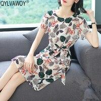 Винтаж корейский 100% шелковое платье для женская одежда 2019 дамы платья женщин Офисные Мини Цветочный для элегантное платье W82ID5018