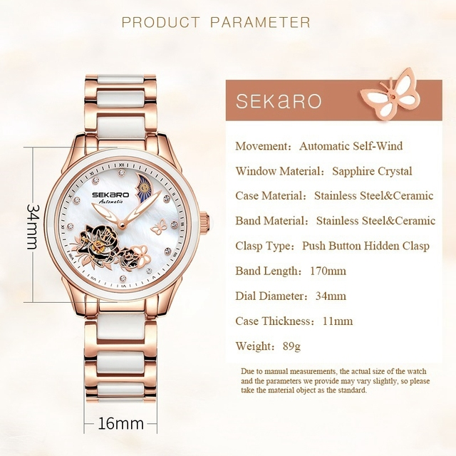 Ceramic Sapphire Crystal Butterfly Design Lady Automatic Watch