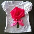 2016 детский цветок футболка ребенок слоеного рукав футболки детские девушки летние топы