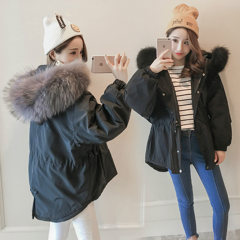 Large Faux Fox Fur Collar Women Winter Jacket 2017 New Fashion Slim Short Jacket Padded Cotton Warm Winter Coat Plus Size 2017 winter new clothes to overcome the coat of women in the long reed rabbit hair fur fur coat fox raccoon fur collar