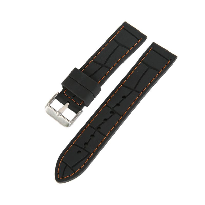 Men Silicone Rubber Black Waterproof Wristwatch Belt 22mm 24mm Watch Band Strap newest fashion 20 22 mm black silicone rubber waterproof men