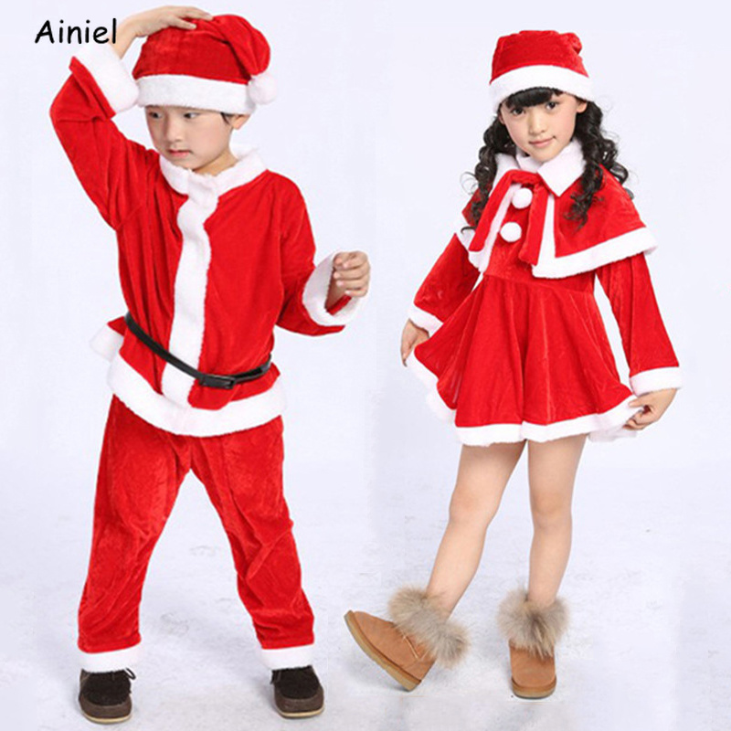 Merry Christmas Clothes Dress Santa Claus Costumes Girl Boy Velvet Dresses Cloak Hats Belt Set Children Kids New Year Clothes