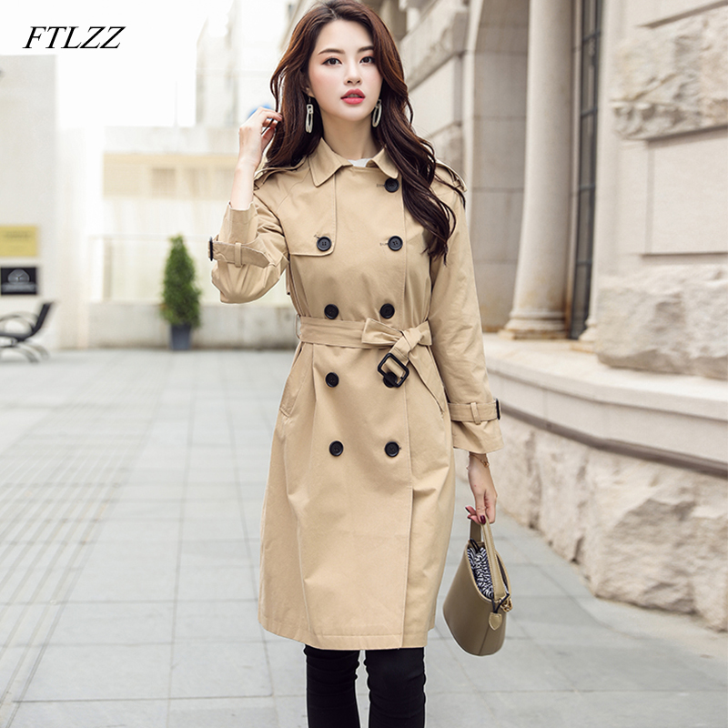 FTLZZ 2019 New Women Double Breasted Mid-long   Trench   Coat Female Khaki Green Slim Belt Cloak Mujer Windbreaker Coat
