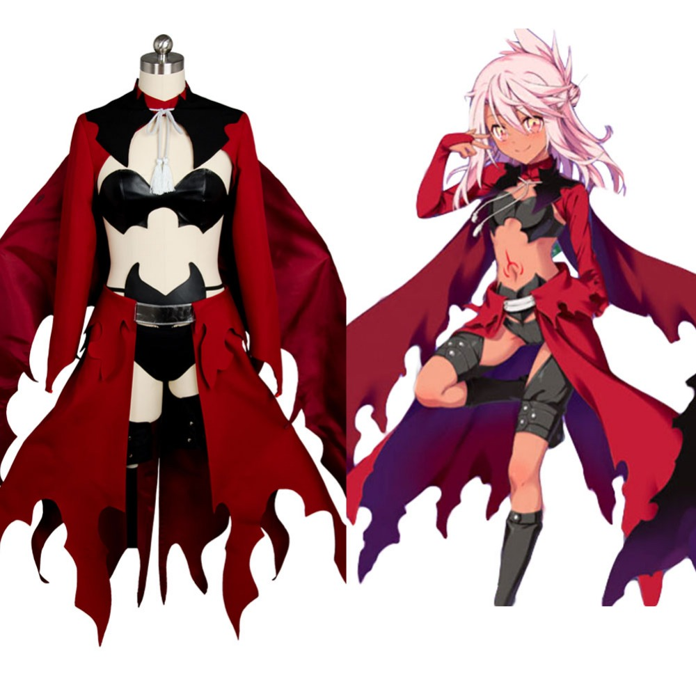 Fate/kaleid liner PRISMA Illya Kuro(Black)Emiya Red Archer Dress Cosplay Costume Full Set Costume