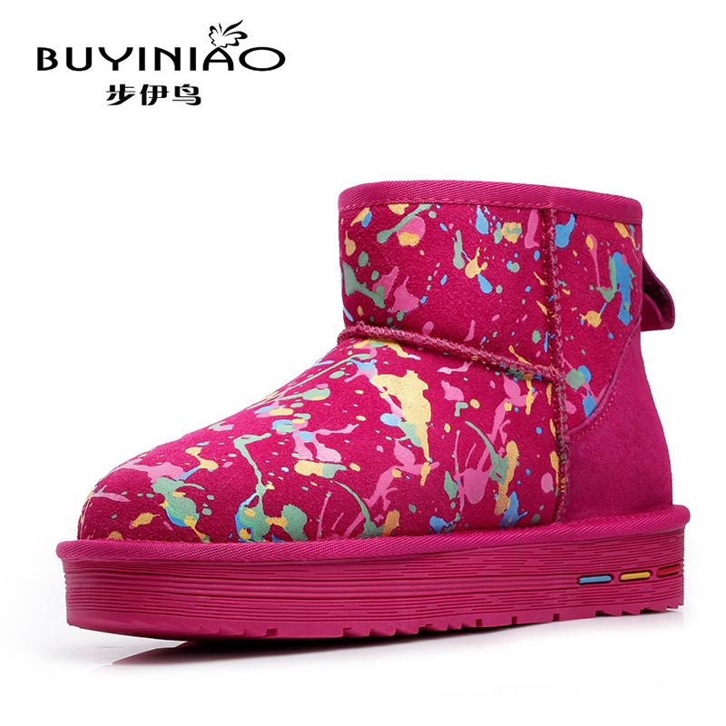 ФОТО Graffiti Snow Boots Camouflage Brand Designer Women Winter Boots 2016 New Genuine Leather Ankle Boots Plush Fur Botas Mujer