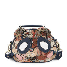 Lovely Bears Printing  Mini Messenger Bag Ladies Fashion Casual Small Bag Gold Thread Blended Fabric Bag Women Cartoon Crossbody