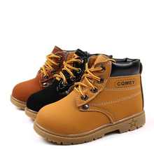 Autumn Winter Children boots PU leather Comfortable Boys Girls Baby shoes Ankle Snow Kids Leather 060