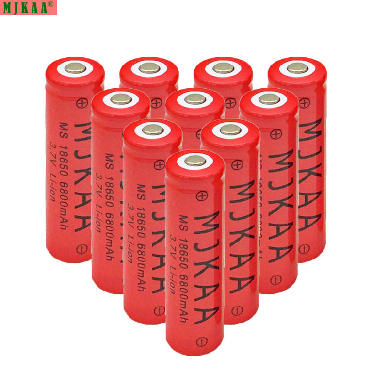 10pcs 100% new 18650 6800mAh 3.7V battery lithium-ion rechargeable battery red housing battery for flashlight toys image