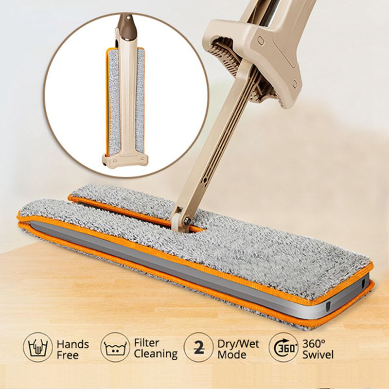 New Arrivals Self-Wringing Double Sided Flat Mop Telescopic Comfortable Handle Mop Cleaning Tool With 2pcs Mop Cloth