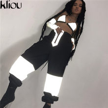 Kliou 2018 New Reflector Camis Women Sexy One Size Deep V-Neck Crop Tops Strap Backless Sexy Party Club Reflector Camis Tank Top(China)