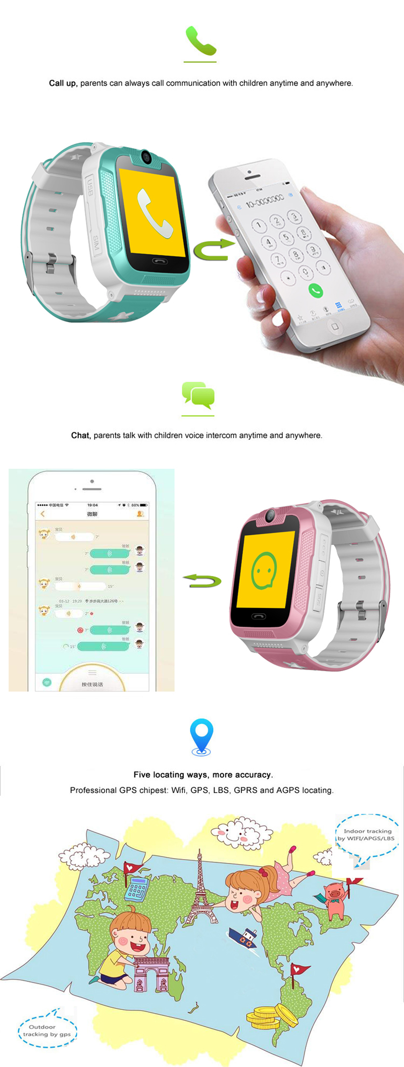 Kids 3G Smartwatch with 2 way calls, GPS and camera 6