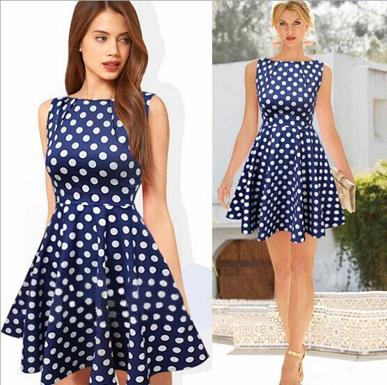 4042564be2 European style fashion Polka dot knee length dress High quality 2014 new  summer women s O neck Vest Brief dress color Navy-in Dresses from Women s  Clothing ...