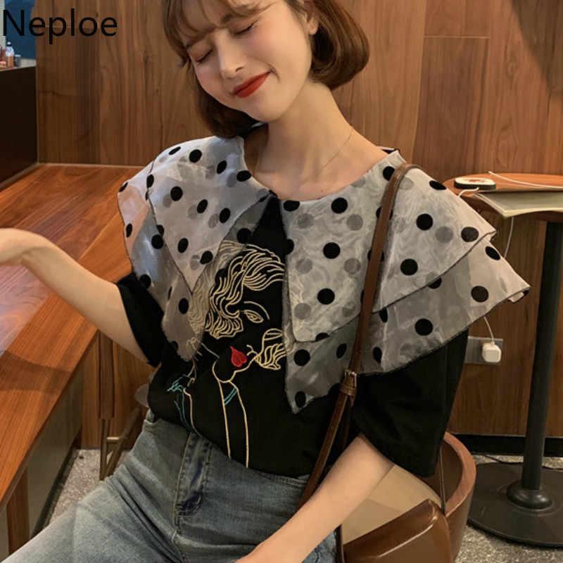 Neploe/женские футболки с вышивкой летние футболки ретро в горошек, двойной слойный воротник, свободные женские топы с короткими рукавами 43978