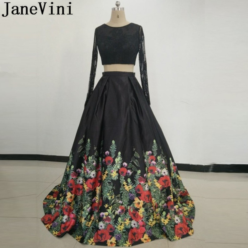 JaneVini Real Photos Saudi Arabia Black Formal   Dress   Long Sleeve 2 Pieces Floral   Bridesmaid     Dresses   Long Plus Size Prom Gowns