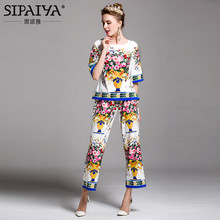 SIPAIYA 2017 Summer Womens New Fashion Runway Pant + High Quality Floral Print Summer Blouse Tops Womens 2 Piece Set