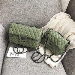 Bolso de marca de lujo para mujer, bolso de diseñador de cuero PU de 2019 calidad, bolso clásico de bandolera con cadena de entramado