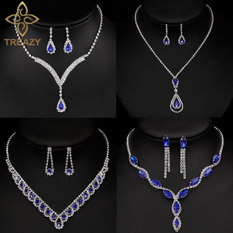 Silver Royal Blue Prom Wedding Bridal Crystal Rhinestone Necklace Earrings Set