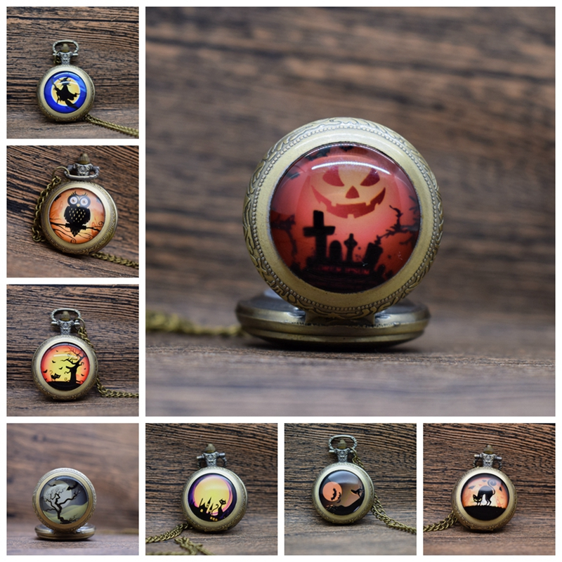 Pocket & Fob Watches Halloween Quartz Pocket Watch Vintage Bronze Men Women Necklace Jewelry Watch Gifts Skull/Pumpkin/Owl Watch