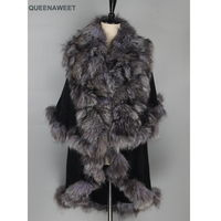 Wholesale Real Fur Poncho Natural Silver Fox Fur Collar And Cashmere Shawl Wrap Scarves Women Cashmere Triangle Cape