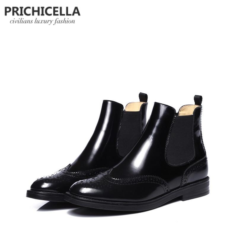 Prichicella качество на плоской подошве натуральная кожа ботинки челси без шнуровки зимние теплые ботинки на меху женская обувь с перфорацией ти...