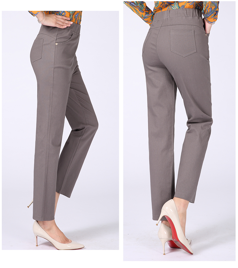 Women Casual Pants Plain Color Basic Trousers Spring Autumn Pantalones Mujer High Elastic Band Waist Pant Red White Gray Black (27)