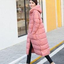 Mulheres Jaqueta de inverno 2017 Nova Moda Parkas Com Capuz Espessamento Quente solto Casaco de 90% de Pato Branco Para Baixo Jaqueta de Inverno Para As Mulheres casaco
