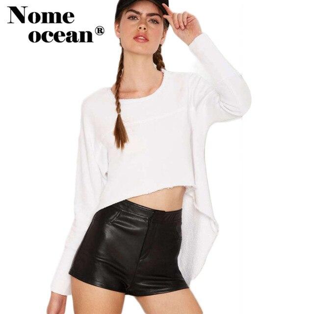 Bas,haut Swing Balayage Femmes T,shirts 2017 Automne Crop Top Solide  Couleur Blanc