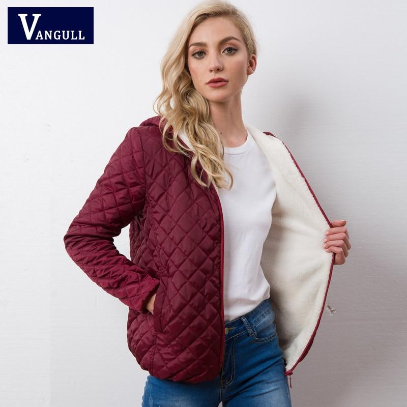 Autumn 2019 New Parkas Basic Jackets Female Women Winter Plus Velvet Lamb Hooded Coats Cotton Winter Jacket Womens Outwear Coat