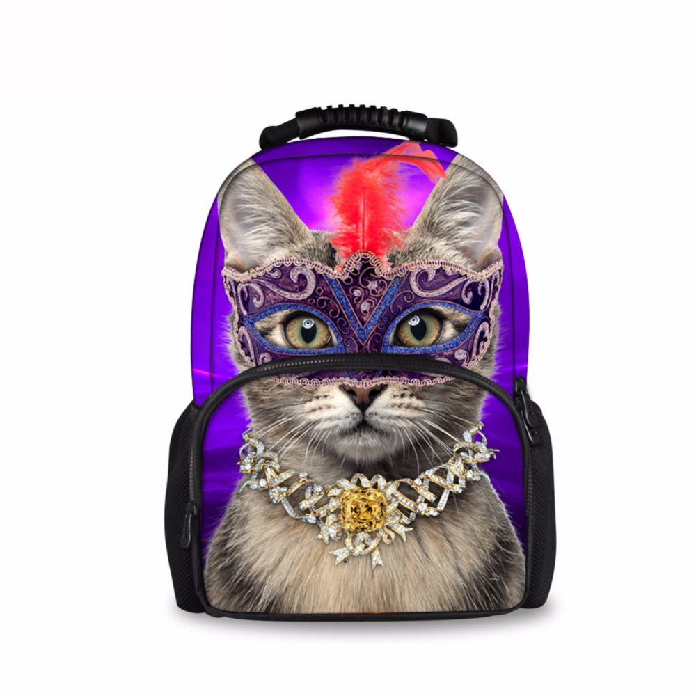 Casual 3D Printing Children School Bags Masked Vivid Cat Schoolbag Boys Colur Student School Bags Kids Cartoon Bookbags ...