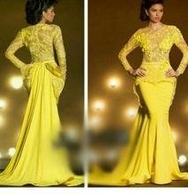 Yellow Nixe-abschlussball 2016 Billig Langarm Abendkleid Lange Formale Partei-kleid Vestidos De Festa