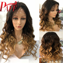 все цены на PAFF 13X6 Deep Part Front Lace Wig Human Hair T1B/4/27 Mixed Color 180% Density 3 Tone Ombre Body Wave Wigs Brazilian Remy hair онлайн