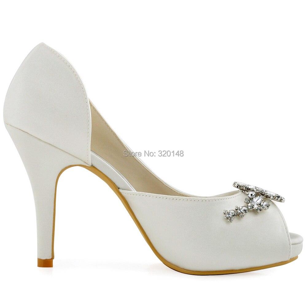Altos Tacones Baile Noche Flores Honor Toe Raso De La Bombas Peep Boda Novia Diamantes Imitación Zapatos Hp1552i Vestido Mujeres Blanca Dama wUqY00
