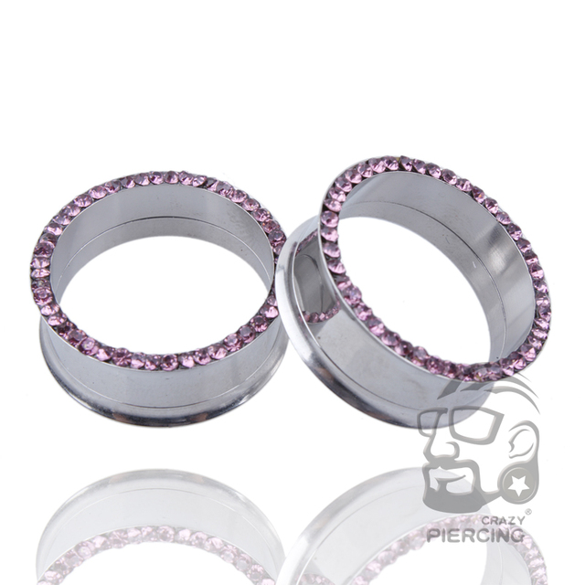 Stainless Steel Piercing Earrings Stretcher Flesh Tunnel 13 Sizes Body Jewelry Surgical Multi Pink