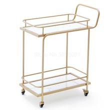 Европейская Золотая Винная Корзина для отеля, ресторан, мобильная ручная нажимная столовая машина, креативная столовая боковая чайная тележка