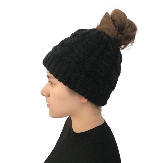 fdc155b73 US $5.77 |Ponytail Beanie Winter Hats For Women Crochet Knit Cap Skullies  Beanies Warm Caps Female Knitted Stylish Hat Ladies Fashion 2018-in  Skullies ...