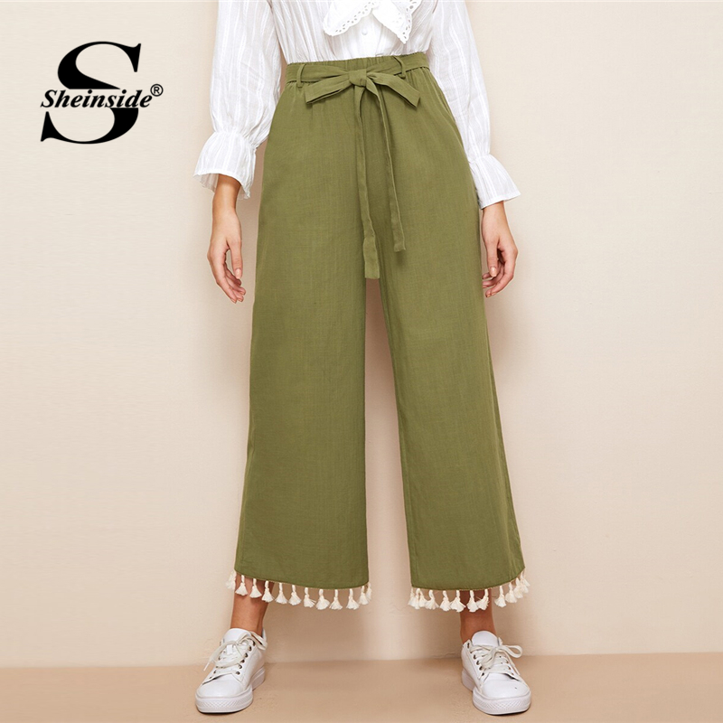 Sheinside Army Green Casual   Wide     Leg     Pants   Women 2019 Spring Fringe Detail Crop Trousers Ladies Elastic Waist Belted   Pants