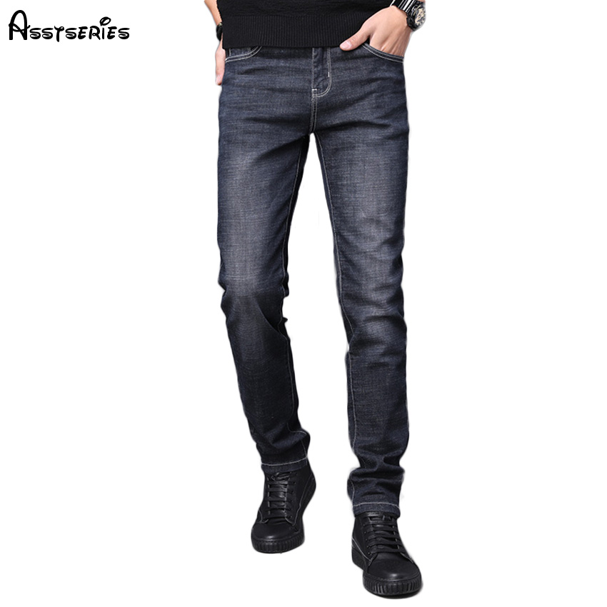 2018 Free Shipping Fashion Men Jeans Business Casual Thin Summer Straight Slim Fit Stretch Jeans Trousers D83