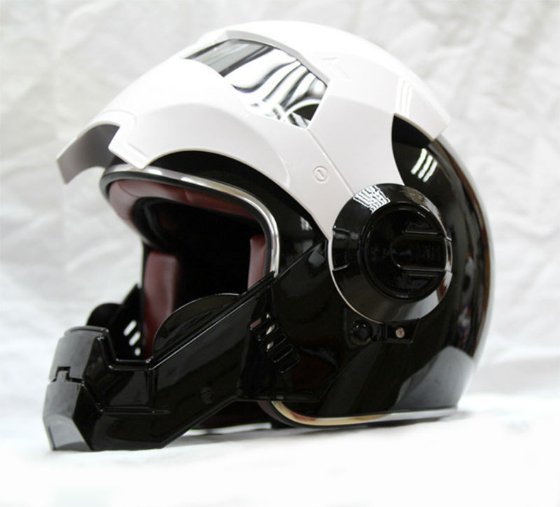 mens womens black white masei ironman iron man helmet motorcycle