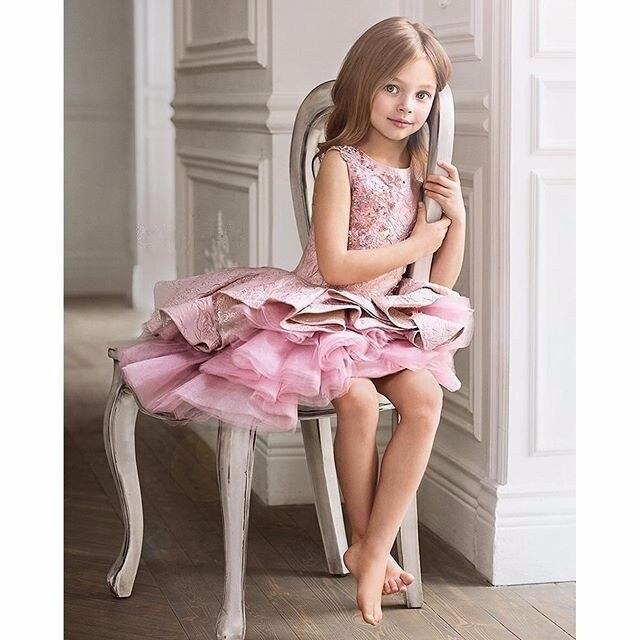 154d896026dd Lace Knee Length Abiti Da Prima Comunione per Le Ragazze Cerniera ...