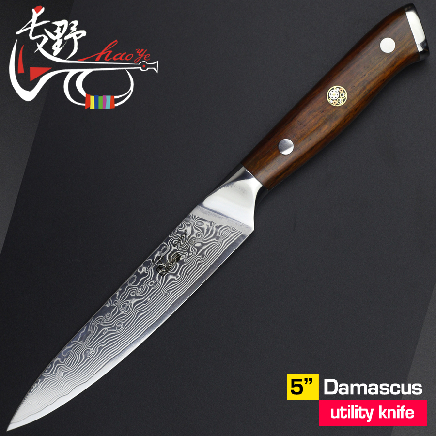 5 damascus utility knife Japanese vg10 steel kitchen paring knives beautiful wood handle quality chef fruit peel knife gift new